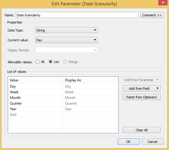 Date Aggregation Parameter in Tableau