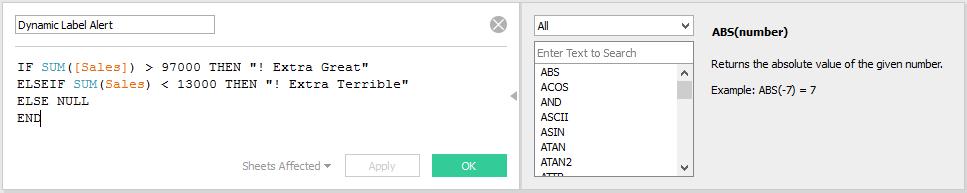 Dynamic Label Alert Calculated Field in Tableau