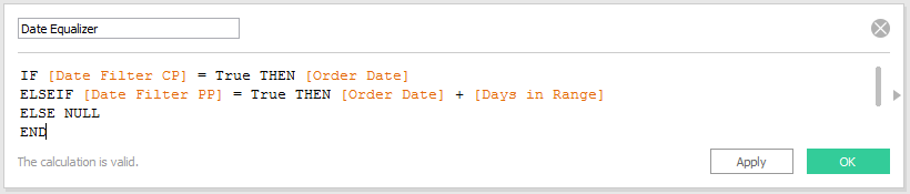 Tableau Calculated Field for Date Equalizer