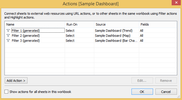 Tableau Dashboard Actions Examples in Sample