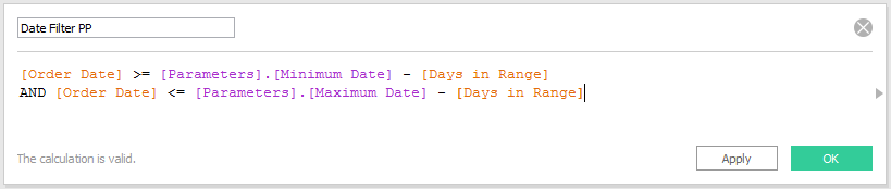 Tableau Date Filter Prior Period