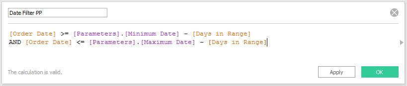 Tableau Date Filter Prior Period