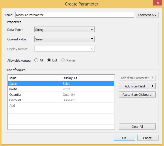 Tableau Parameter for Measure Choices
