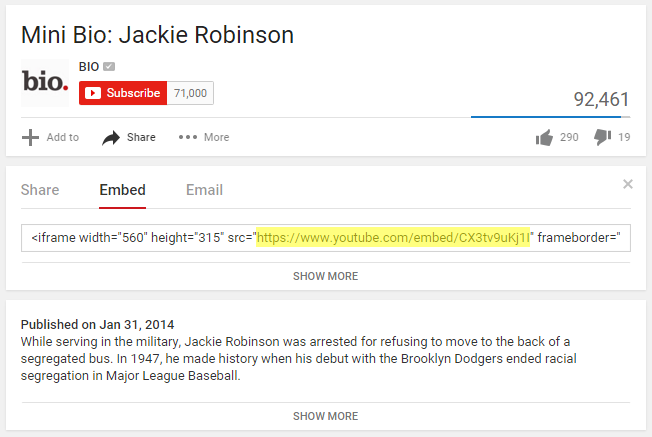 YouTube Embed Link for Tableau