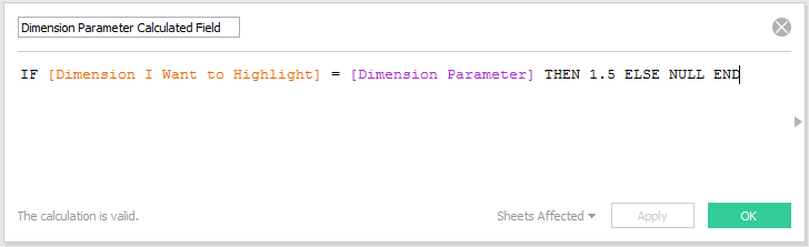 Dimension Parameter Calculated Field in Tableau