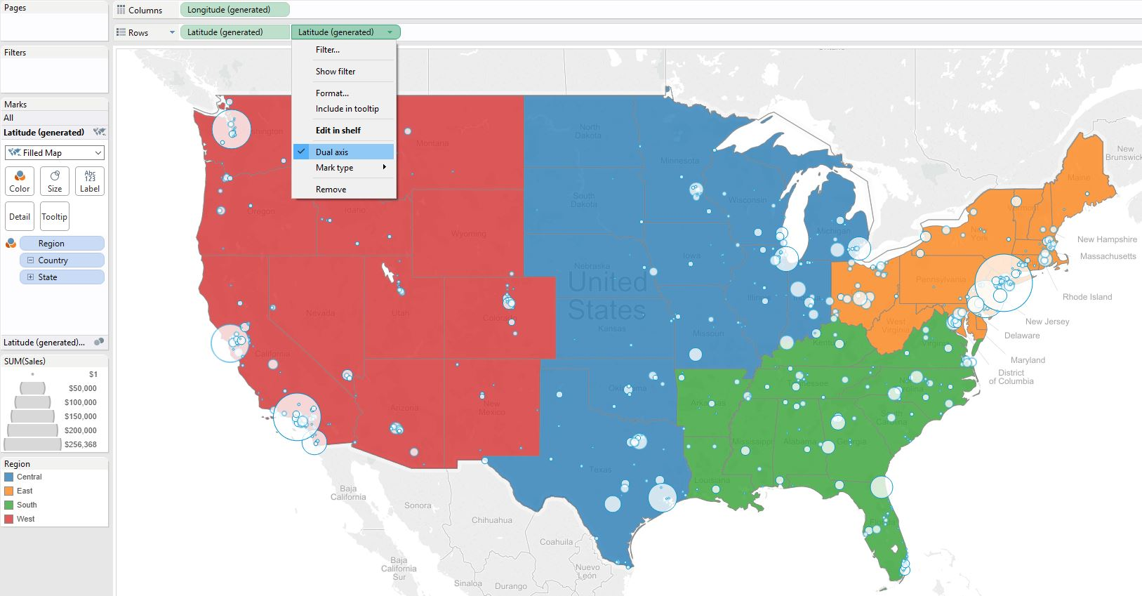 Final Tableau Dual Axis Map