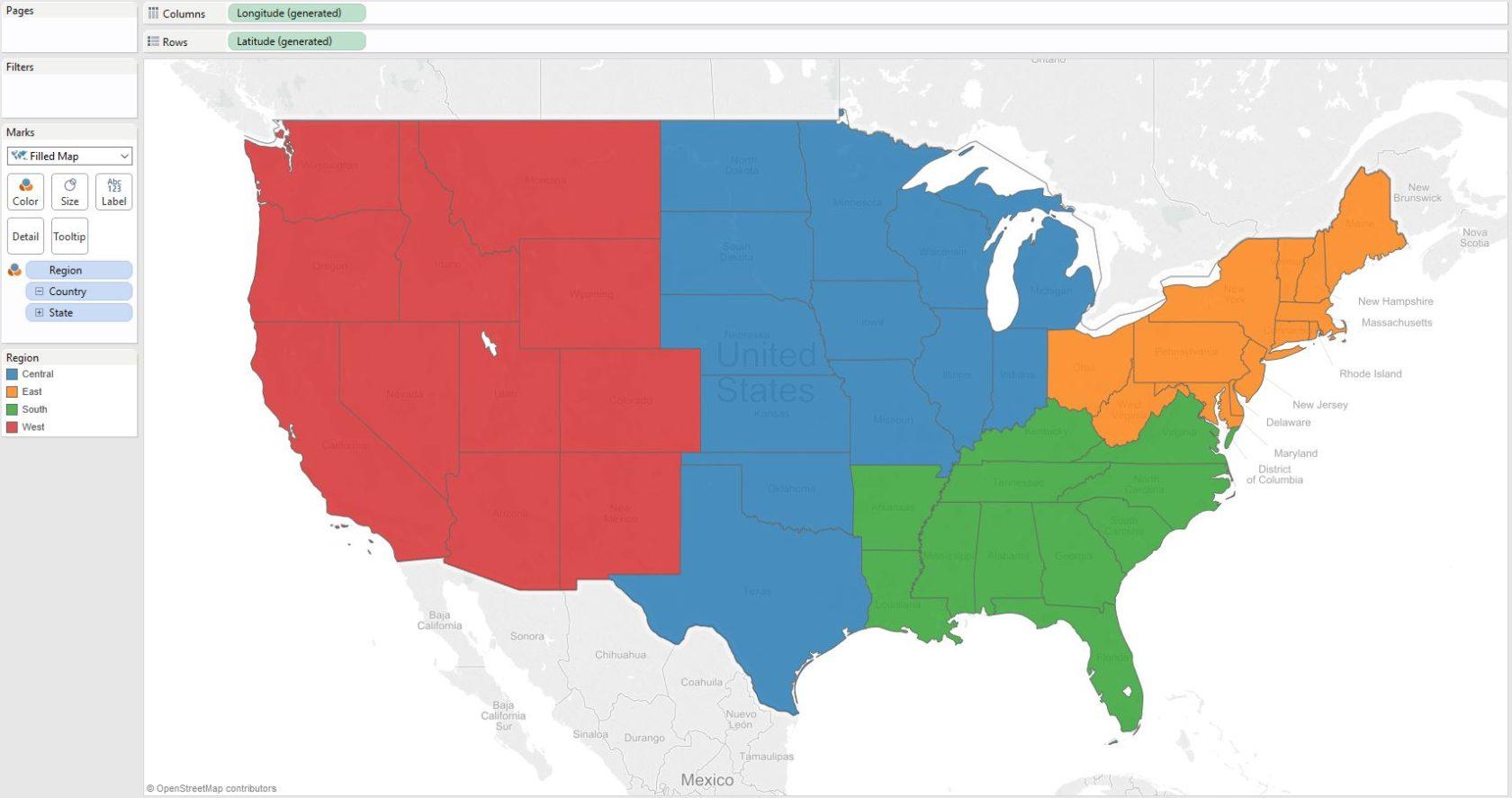 Tableau  How To Make A Filled Map EvolyticsEvolytics Data - Us map region wise