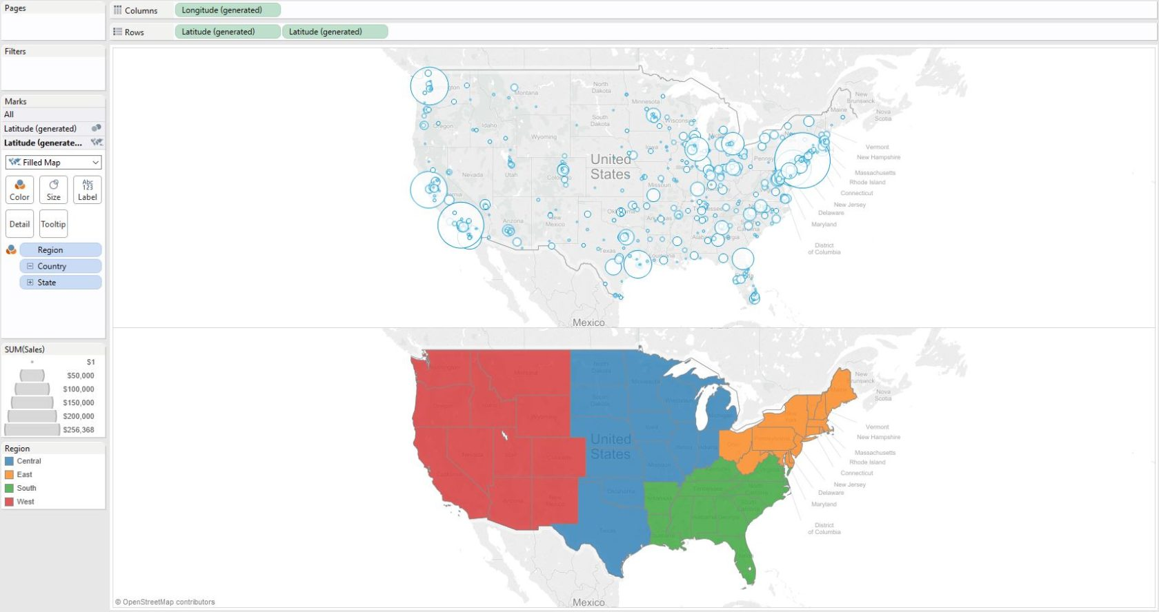 Two Rows Of Maps In Tableau