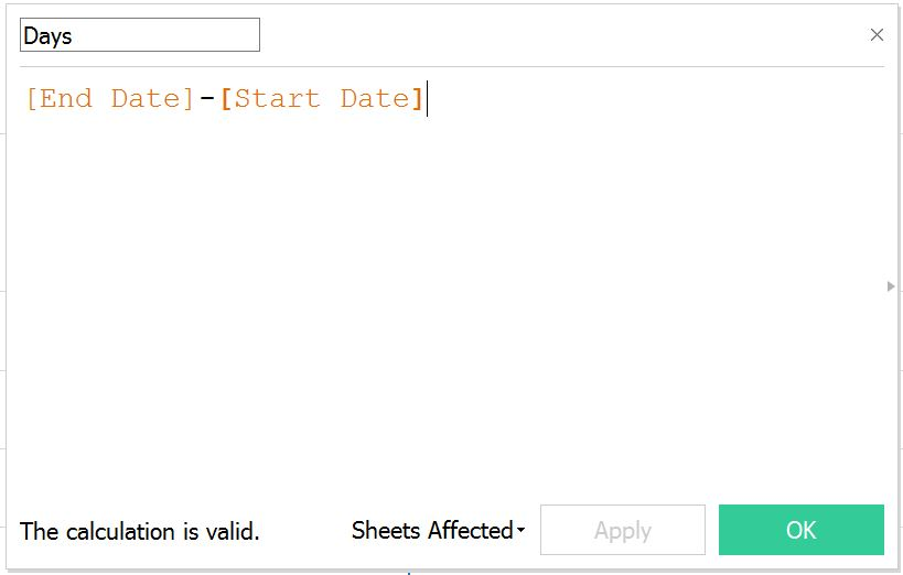 Tableau Duration Calculated Field
