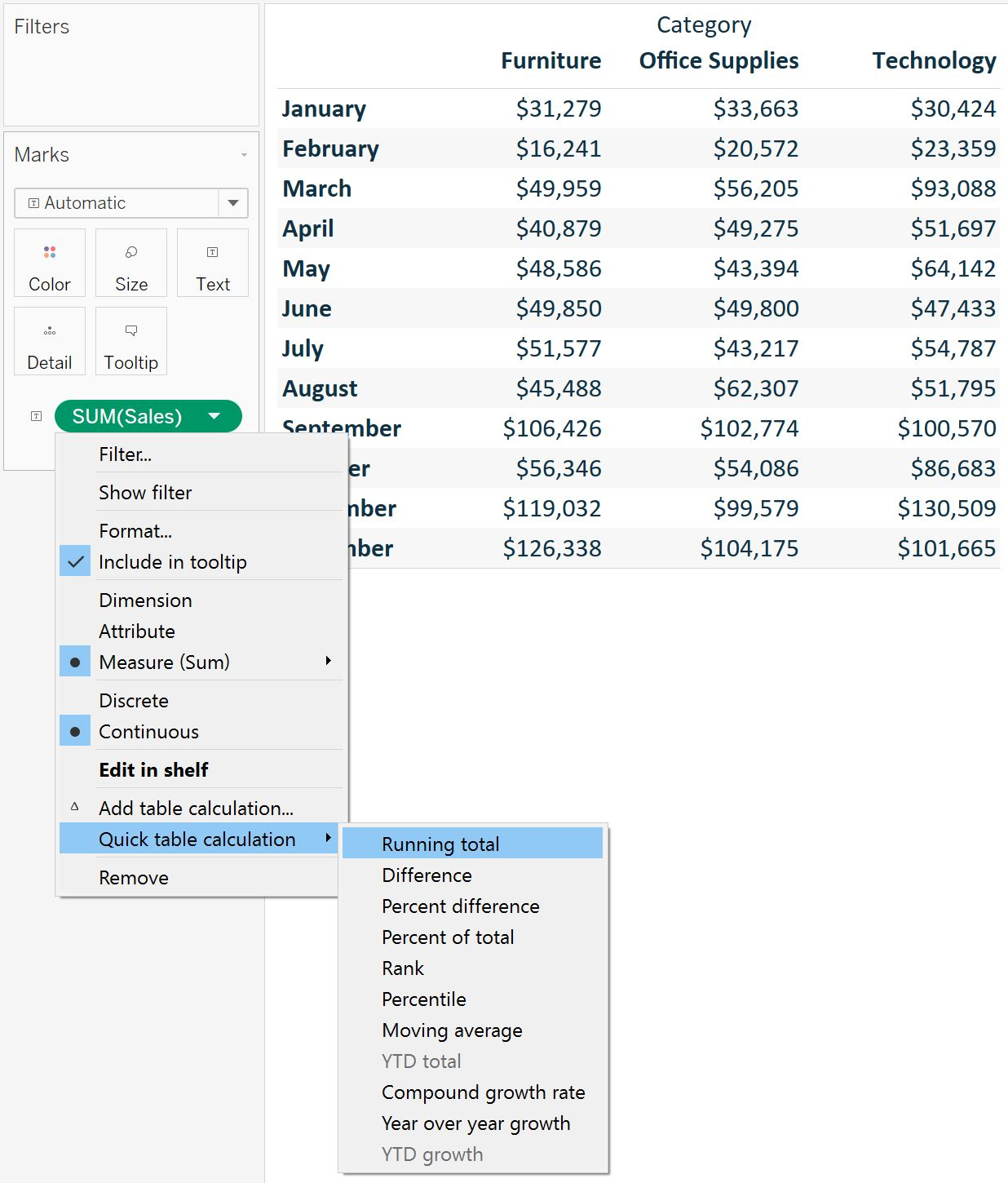 Adding Tableau Table Calculation