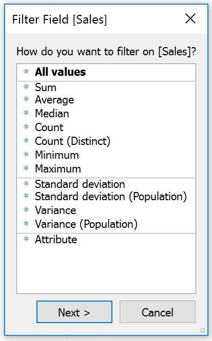 Tableau Measure Filter Aggregations