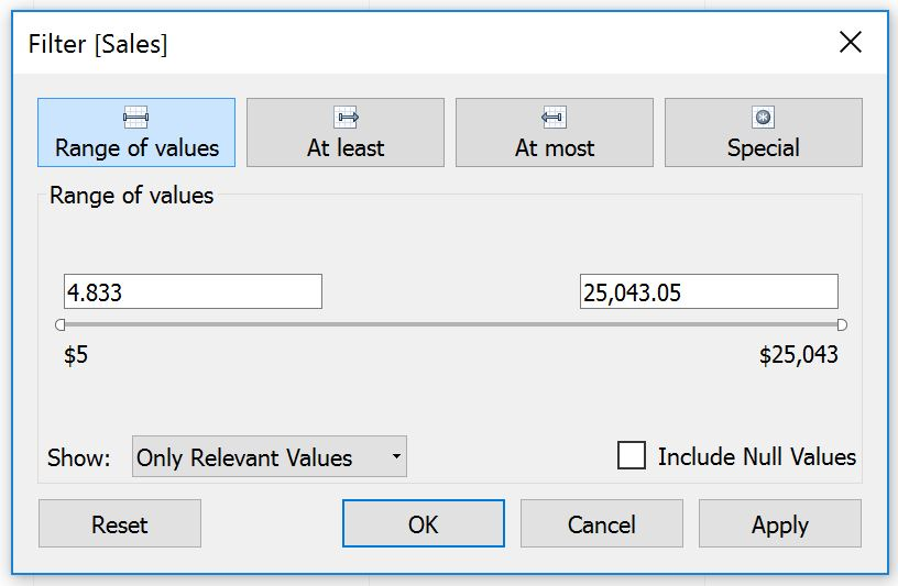 Tableau Measure Filter Options