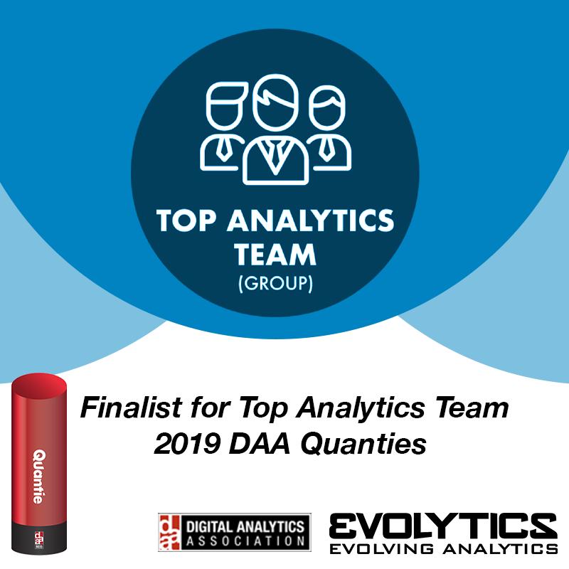 Evolytics Announced as a Finalist for the Digital Analytics Association 2019 Top Analytics Team Award