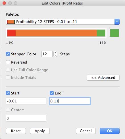 custom color palette settings Tableau