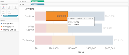 total and individual labels on bar charts in Tableau